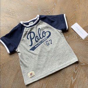 RALPH LAUREN Blue/Grey/White Baby Polo 67 T-Shirt